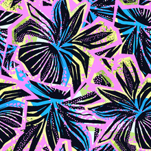 Seamless Abstract  Wild Exotic Floral Ink Hand Drawn Pattern. Trendy Repeating Watercolor Blotted Background Texture.