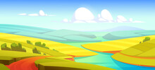 Summer Landscape With Green Fields, River And Road. Vector Cartoon Illustration Of Countryside With Meadows And Grassland On Hills, Water Stream And Rural Road On Riverside