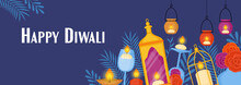 Diwali Hindu Festival Concept With Diya Lamps, Sweet Dessert Food And Candles. Holiday Template For Greeting Card, Poster And Banner