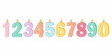 Illustration Of Burning Candles Of Birthday Numbers On A White Background. Cute Candles, For Postcards, And Festive Decor. Vector Illustration In A Flat Cartoon Style.
