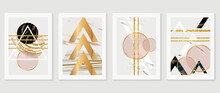 Luxury Gold Geometric Arts Wall Art Vector Set. Cubism Slow-poly Backgrounds. Good For Home Deco, Wall Art, Poster, Invite And Cover.