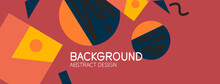 Abstract Background. Blocks, Lines, Triangles, Circles Composition. Techno Or Business Concept For Wallpaper, Banner, Background, Landing Page