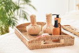 Spa supplies on table in beauty salon