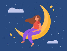 Calm Cartoon Girl Dreaming While Sitting On Moon. Female Person Relaxing And Sleeping, Night Sky Background Flat Vector Illustration. Deep Sleep, Sweet Dreams Concept For Banner Or Landing Web Page