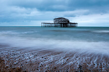 Seen Better Days, Waves Receding At The Ruins Of Brighton West Pier, East Sussex South East England