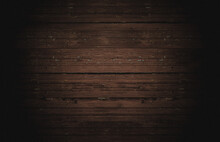 Old Horizontal Wooden Shabby Dark Brown Background Or Texture, Part Of Rustic Fence Or Walls Of House