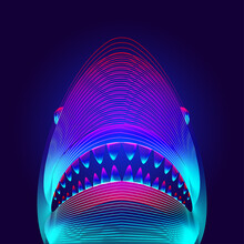 Dangerous Shark Head With Opened Mouth And Jaws. 3D Virtual Hologram Of A Big White Or Tiger Shark Silhouette In Neon Line Art Style. Vector Digital Illustration Of Underwater Sea Fish Outline
