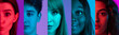 Cropped portraits of group of young people on multicolored background in neon light. Collage made of 5 male and female models