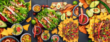 Collage Of Hispanic Mexican Food On Dark Background