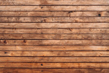 Reclaimed Wood Wall Paneling Texture. Wall Of Wooden Fence. Winter Wooden Plank Background, Brown Horizontal Boards, Wood Texture. Stock Photo