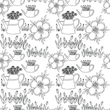 Vector Drawings Of Flowers Watering Can Tulips. For Printing On Fabric.
