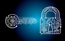 Encrypt Computer Virus Ransomware - Key And Padlock