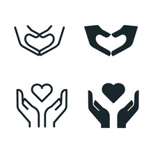 Hands With Heart Shape -Icons Stock Illustration Heart In Hands Line And Glyph Icon, Love And Care.