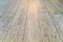 Light Wooden Slatted Floor With Light Reflection
