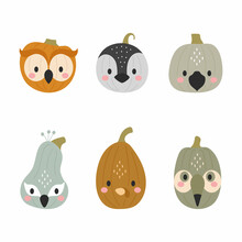 Happy Halloween Cute Collection Of Cartoon Pumpkins With Animal Faces. Halloween Party Decor For Children. Childish Print For Cards, Stickers, Invitation, Nursery Decoration. Vector Illustration.