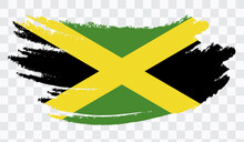 Grunge Brush Stroke With  JAMAICA National Flag. Watercolor Painting Flag,poster, Banner Of The National Flag. Style Watercolor Drawing. Vector Isolated On Transparent Background.