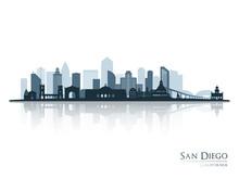 San Diego Skyline Silhouette With Reflection. Landscape San Diego, California. Vector Illustration.