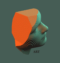 Mannequin's Head In Profile. Side View. Plaster Face Or Sculpture. Futuristic Technology Concept. Technology And Robotics Concept. Voxel Art. 3D Vector Illustration.