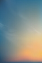 Orange,yellow,pink And Blue Sky Background, Vertical Dramatic Twilight Landscape With Sunset In Evening, Vector Mesh Horizon Sky Banner Of Sunrise Or Sunlight For Four Seasons Background