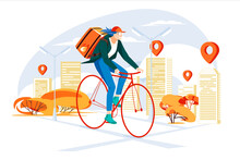 Cyclist Delivery Service Concept  In The City. Girl Courier. Young People Doing Job Fast. City Map With Points. Flat Colorful Cartoon Illustration. Isolated On White Background