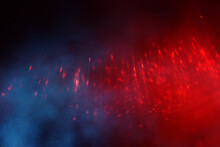 Abstract Red, Blue And Black Defocused Background. Bokeh Lights