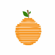 Orange Citrus Fruit Logo Icon Sign Hand Drawn Sketch Symbol Emblem Abstract Modern Design Cartoon Creative Style Fashion Print Clothes Apparel Greeting Invitation Card Cover Flyer Shop Store Poster Ad