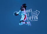 Artwork. Sportive african-american woman, female basketball player in motion and action in neon light on blue background with lettering, graphics