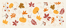 Cute Autumn Background Vector. Autumn Shopping Event Illustration Wallpaper With Hand Drawn Icons Set. This Design Good For Banner, Sale Poster, Packaging Background And Greeting Card.