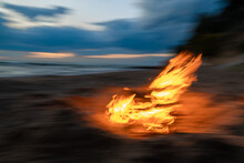 Fire Flames Burning In The Wind