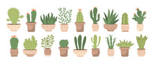 Big Set With Different Cute Cacti And Succulents In Pots On White Background. Vector Illustration Set With Different Houseplants In Ceramic Pots