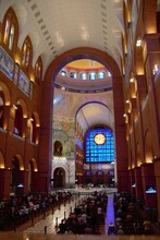 Panoramic View From Inside The Basilica Of The National Sanctuary Of Our Lady Of Aparecida Or Cathedral Basilica Of Our Lady Of Aparecida. Aparecida - São Paulo - Brazil.