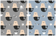 Hand Drawn Vector Pattern With Cute Cat Mermaid Fishes, Crab, Octopus And Starfish On A Gray And Blue Background. Infantile Style Nursery Art Ideal For Favbric, Textile. Unny Print With Magic Sealife.