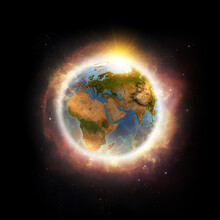 Global Warming, Climate Change, Worldwide Disaster On Planet Earth. 3D Illustration - Elements Of This Image Furnished By NASA.