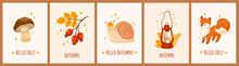 Cute Mushroom, Funny Winking Snail, Kawaii Fox, Red Vintage Kerosene Lamp And Rose Hip Berries. Set Of Autumn And Fall Postcard Templates. Poster, Print, Invitation. Vector Cartoon Illustrations.