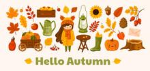 Hello Autumn Horizontal Banner. Cozy Fall Garden Postcard Layout. Vector Template With Cute Kawaii Illustration. Harvest, Apple, Pumpkins, Berries, Foliage, Sunflower, Acorn And Vintage Kerosene Lamp.
