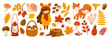Set Of Fall Forest Elements: Falling Leaves, Basket With Mushrooms, Cute Fox, Snail, Acorn. Autumn Season Collection For Greeting Card, Stickers, Prints, Wrapping Paper. Vector Cartoon Illustration.