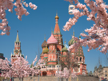 Russia. Moscow. The Kremlin's Spasskaya Tower. Saint Basil's Cathedral.