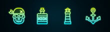 Set Line Skull, Alcohol Drink Rum, Lighthouse And Anchor. Glowing Neon Icon. Vector