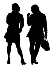 Beauty Young Girls In Dress Walking Down Street. Isolated Silhouette On White Background