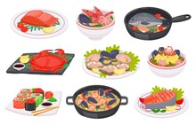 Cartoon Seafood Dishes With Fish, Octopus, Shrimps And Salmon Steak. Sushi, Crab, Salad, Soup And Noodles With Sea Food On Plate, Vector Set
