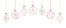 Hand Drawn Christmas Balls With Decorations. Vector