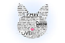Cat Head Silhouette Shape With Text Words Meanings Icon Vector Image Design