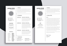 Resume Layout, Two Column Resume And Cover Letter Layout Kit
