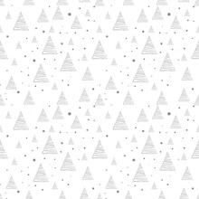 Sketch Christmas Tree Seamless Pattern, New Year Background