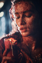 Girl Drenched In Blood
