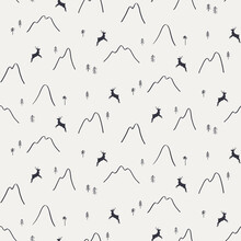 Mountains, Trees, Reindeer Silhouette, Minimal Winter Seamless Pattern, Black On Gray Background. Hand Drawn Vector Illustration. Design Concept For Kids Textile, Fashion Print, Wallpaper, Packaging.