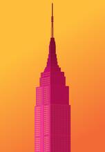 Empire State Building Vector, New York Skyline, Tall Building, Empire State Building Icon, Gradient Illustration Background Poster