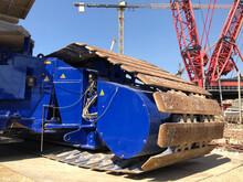 Trucks Of Crawler Crane At Construction Site.