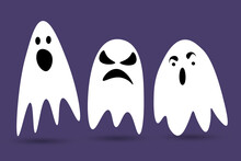 Cute Halloween Ghosts. Scared Funny Ghost With Different Emotions. Set Of Icons Isolated On A Purple Background. Cartoon Vector Illustration.