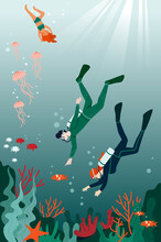 Male And Female Characters Are Diving And Snorkeling In The Ocean Together. Concept Of Underwater Life With Colorful Fish And Various Corals. Flat Cartoon Vector Illustration